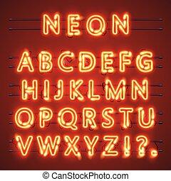 neon, skylt., text., illustration, lampa, vektor, alfabet, dopfunt