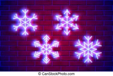 Neon snowflakes set with glowing purple and blue lights in 80s or cyberpunk style
