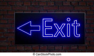neon., sortie secours, case., icon., intérieur, interior., ...