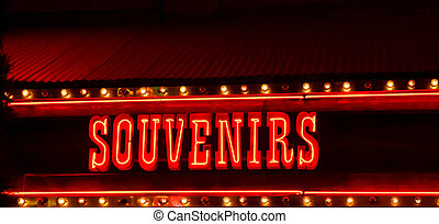 Neon Souvenir Sign - Red and Yellow neon souvenir sign at...