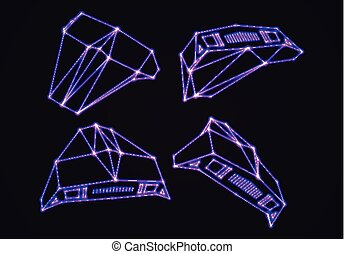Neon space ships set of attacking invaders or defending fighters with 80s retro arcade game style and laser geometric contour