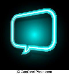 Neon speech bubble on dark background