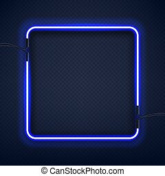 Neon square frame, isolated, vector illustration.