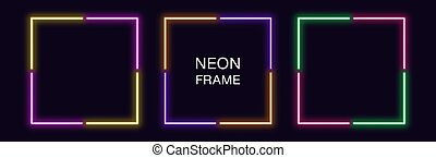 Neon square Frame. Set of quadrate neon Border in 4 angular parts. Geometric shape with copy space, futuristic glowing element for social media stories. Yellow, purple, orange, green. Fully Vector