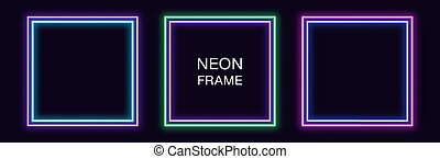 Neon square Frame. Set of quadrate neon Border with double outline. Geometric shape with copy space, futuristic graphic element for social media stories. Violet, blue, purple, green. Fully Vector