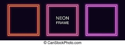 Neon square Frame. Set of quadrate neon Border with double outline. Geometric shape with copy space, futuristic graphic element for social media stories. Red, pink, purple color. Fully Vector