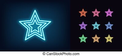 Neon star icon. Glowing neon superstar sign, award in vivid ...