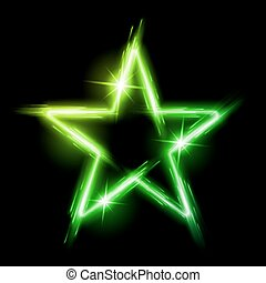 Neon star - Neon glowing green star with reflection in space