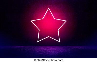Neon star shape on pink spotlight