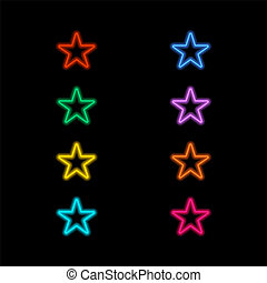 Neon stars on a black background.