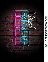 Neon Stripper Sign on A Face Brick Wall - An illuminated...