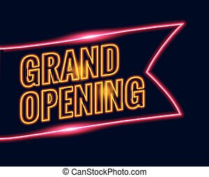 neon style grand opening banner design background