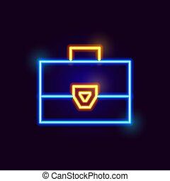 Neon Suitcase Icon