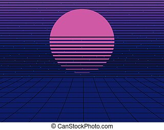 Neon grid landscape and sun with 80s arcade game style  Neon