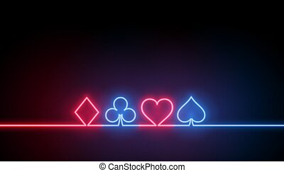 neon symbols of casino playing cards background