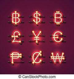 neon symbols set on the red background. Vector illustration
