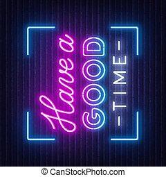 neon, tempo, segno, possedere, buono