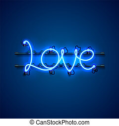 Neon text love signboard on the blue background.