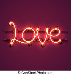 Neon text love signboard on the red background.