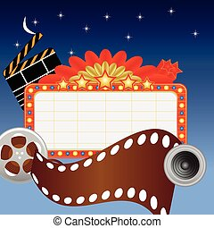 Neon theater sign and media items - Neon theater sign with...