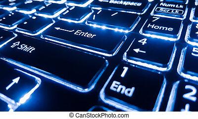 neon, toetsenbord, met, binnengaan, button., brandpunt, op, de, .
