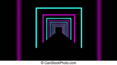 Neon trendy design glowing path going through tunnel - 4k