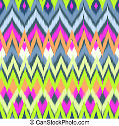 neon tribal ikat print - seamless background
