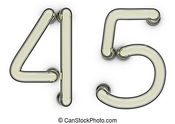 Neon tube number on yellow background. 3D