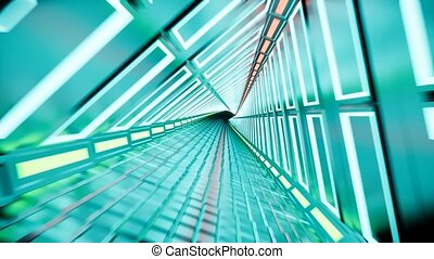 Neon tunnel 3d render abstract background