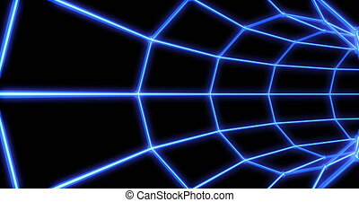 Neon tunnel 3d render abstract seamless background, looped...