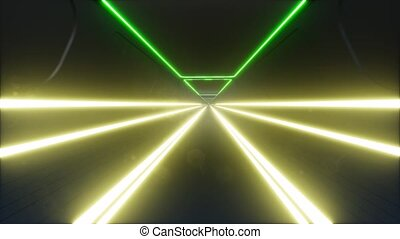 Neon tunnel in abstract style cyber speed