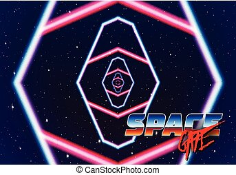 Neon tunnel in space with 80s styled lazer lines