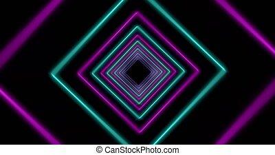 Neon tunnel using glowing square lines making light effect pattern. Illuminated geometry making seamless path - 4k