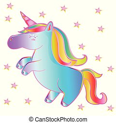 Neon unicorn, close-up with pink stars on isolated white background