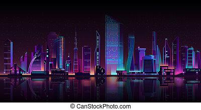 neon, večer, karikatura, metropole, grafické pozadí