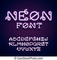 Neon vector font.