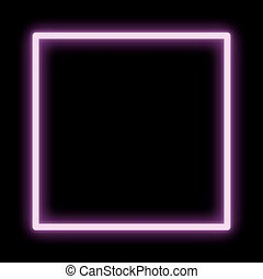 Neon vector frame pink square glowing.