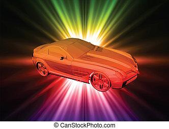 neon, vektor, auto., hintergrund
