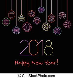 neon, vektor, tervezés, év, új, boldog
