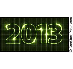 neon, vettore, scheda, anno, nuovo, 2013