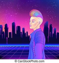 neon, vettore, synth, luminoso, giovane, blu, colors., hair...