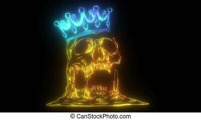 neon, video, czaszka, cyfrowy, korona