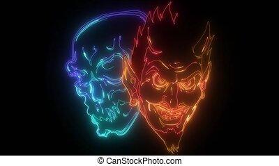 neon, video, czaszka, demon, diabeł, głowa, cyfrowy