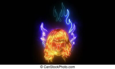 neon, video, ogień, płomień, czaszka, cyfrowy, spadanie