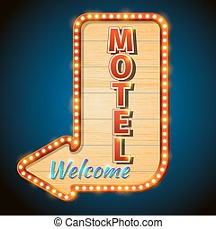 Neon vintage motel sign with light bulbs. Vector illustration