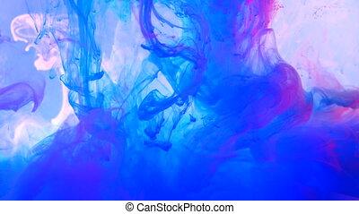 neon, violett, und, rosa, tinte, in, wasser, schießen, mit,...