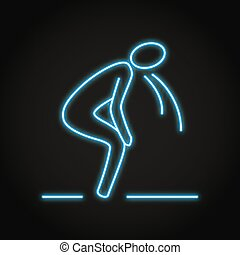 Neon vomiting person icon in line style. Nausea concept, sickness feeling symbol. Vector illustration.