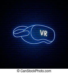 Neon VR glasses icon.