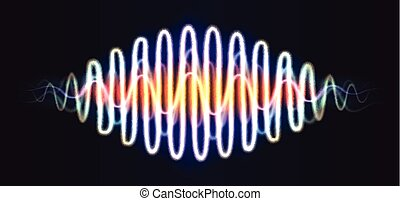 Neon wave abstract shiny figure with lines music DNA