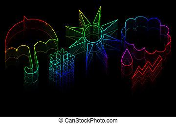 Neon weather symbols on a black background